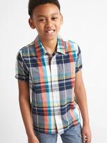 Gap Plaid madras short sleeve shirt