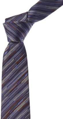 Canali Blue & Brown Stripes Silk Tie