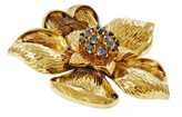 Tiffany & Co. 18K Yellow Gold Sapphire Flower Pin Broach