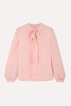 Temperley London Jade Pussy-bow Pleated Chiffon Blouse - Pink