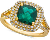 Macy's Lab-Created Emerald (1-1/2 ct. t.w.) & White Sapphire (1/2 ct. t.w.) Ring in 14k Gold-Plated Sterling Silver