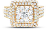 FINE JEWELRY Limited Quantites Womens 2 1/2 CT. T.W. Genuine White Diamond 14K Gold Cocktail Ring