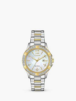Citizen Women's Electra Diamond Date Bracelet Strap Watch, Silver/Gold EW2514-59D