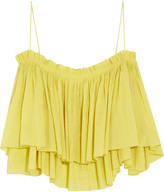 Apiece Apart Sanna Cropped Ruffled Cotton Camisole - Yellow