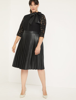 ELOQUII Faux Leather and Lace Dress