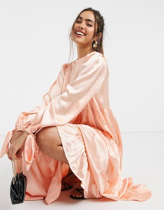 ASOS DESIGN satin tiered midi smock dress with tie sleeves in coral