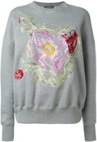 Alexander McQueen floral embroidered sweatshirt - women - Cotton - 40