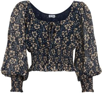 Rixo Helena Smocked Silk Floral Blouse