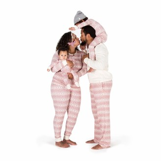 Burt's Bees Baby Baby Family Jammies Holiday Matching Pajamas Organic Cotton Ivory/Red Fair Isle Womens Gown: X-Large