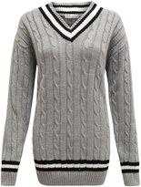 Forever Womens Long Sleeves Cable Knitted V Neck Cricket Novalty Jumper