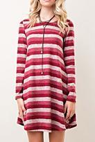 Entro Striped Keyhole Dress