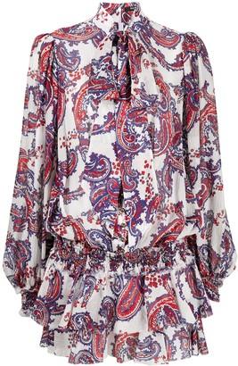 Balmain Short Ruffled Paisley Dress
