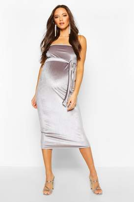 boohoo Maternity Bandeau Velvet Midi Bodycon Dress