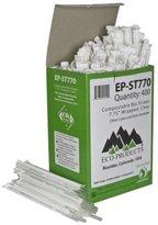 "Eco Compostable Straws, 7 3/4"", Corn Plastic, Clear, 9600/Carton"