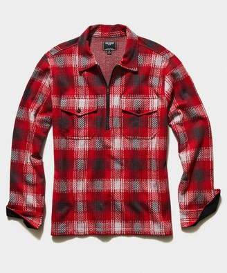 Todd Snyder Plaid Quarter Zip Jacket in Red