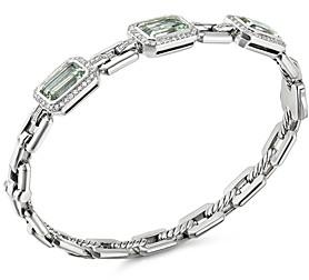 David Yurman Novella Three-Stone Bracelet with Prasiolite and Pave Diamonds