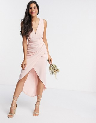 TFNC Bridesmaid v neck midi dress in pink