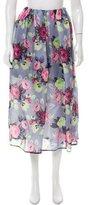 Carven Floral Print Midi Skirt