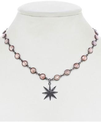 Rachel Reinhardt Gunmetal Plated Pink Quartz & Cz Star Necklace