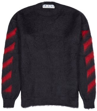 Off-White Diag navy brushed mohair-blend jumper