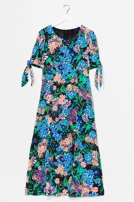 Nasty Gal Womens Plant the Seed Floral Midi Dress - Black - S, Black