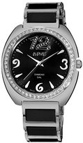 August Steiner Women's AS8066BK Swiss Quartz Diamond & Crystal Black Ceramic Bracelet Watch
