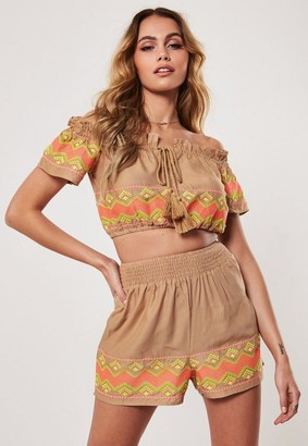 Missguided Nude Co Ord Embroidered Shirred Waist Shorts
