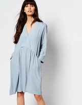 Just Female Lola Smock Dress in Celestial Blue