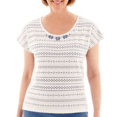 Alfred Dunner Paradise Island Short-Sleeve Pointelle Beaded Yoke Top - Petite