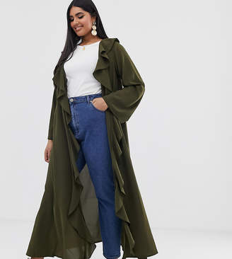 Verona Curve frill front duster jacket in olive-Green