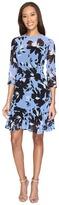 Donna Morgan 3/4 Sleeve Aline Poly Chiffon Dress with Circle Flounce Women's Dress