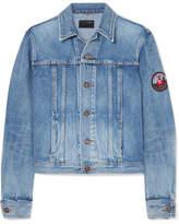 Saint Laurent Appliquéd Denim Jacket - Mid denim