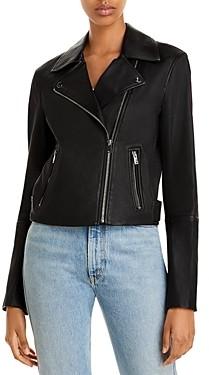 Theory Cropped Leather Moto Jacket