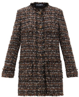 Dolce & Gabbana Round-neck Boucle-tweed Single-breasted Coat - Brown Multi