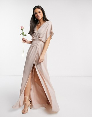 Asos Design DESIGN Bridesmaid short sleeved cowl front maxi dress with button back detail-Pink