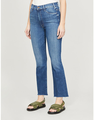 Mother Hustler Ankle Fray flared high-rise jeans