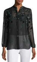 Elie Tahari Amina Long-Sleeve Floral Blouse, Dark Green Multi