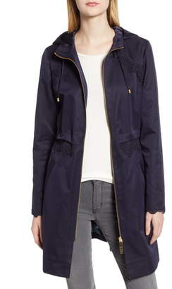 Ted Baker Lace Trim Hooded Parka