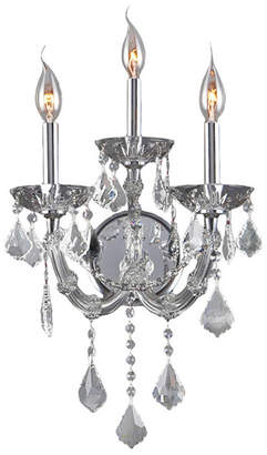 Theresa Worldwide Lighting Maria 3-Light Chrome Finish and Clear Crystal Candle Wall Sconce Light
