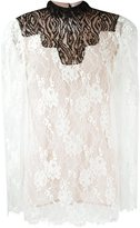 Lanvin lace sheer top - women - Silk/Polyamide/Viscose - 38