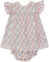 Marie Chantal Baby Girl Liberty Floral Flutter Sleeve Dress with bloomers - Pink/Grey