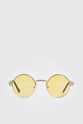 boohoo Mens Yellow Arm Detail Vintage Sunglasses, Yellow