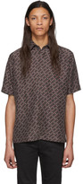 Fendi Brown Silk Stripe Karligraphy Shirt