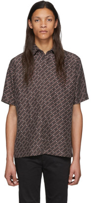Fendi Brown Silk Stripe Karligraphy Shirt