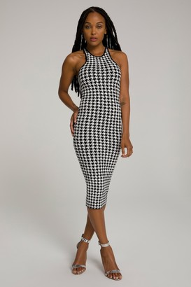 Good American Zipped In Gold Sculpted Midi | Houndstooth001