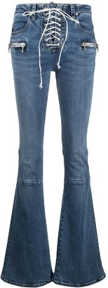 Unravel Project Lace-Up Boot-Cut Jeans