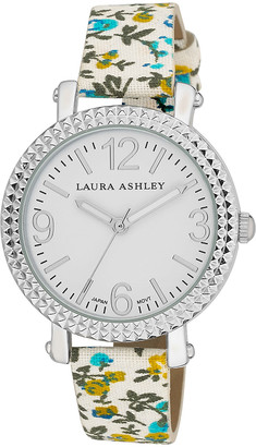 Laura Ashley Women's Watches - Silvertone Floral Strap Watch