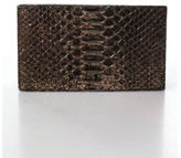 Nancy Gonzalez Bronze Metallic Python Box Clutch Handbag