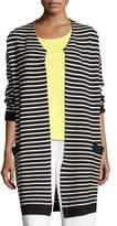 Joan Vass Striped Long Sweater Coat