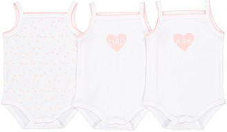 La Redoute Collections Pack of 3 Cotton Heart Bodysuits with Straps, Birth-3 Years